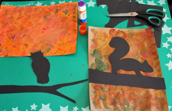 Fall tree painting and collage silhouette art