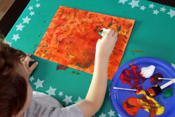 Fall tree silhouette painting project