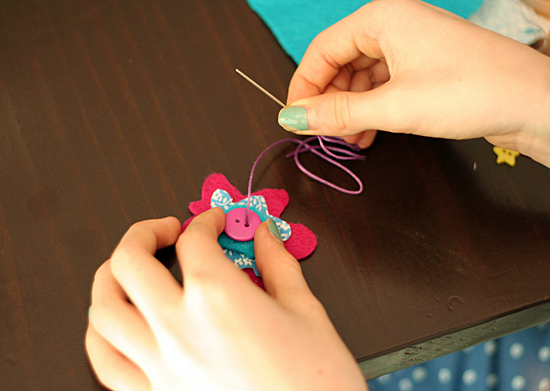 Kids flower sewing project