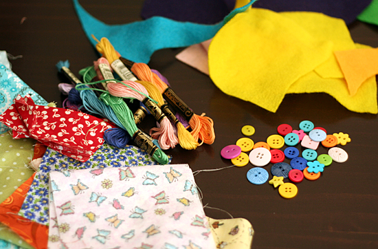 Supplies for felt and fabric flowers