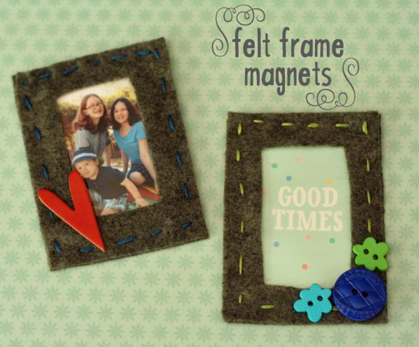 {Sewing with kids} Felt photo frame magnets