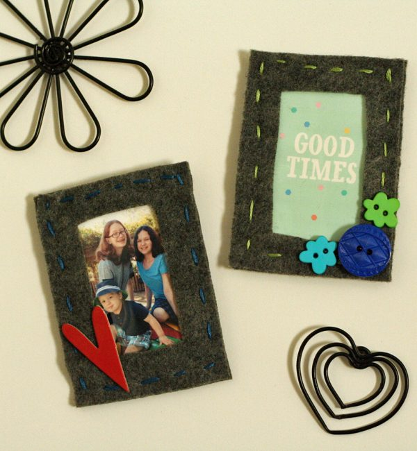 Magnetic felt photo frames