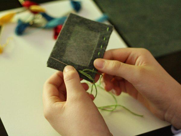 Kids' sewing project - magnetic felt frame