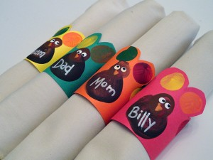 Fingerprint Turkey Napkin Rings