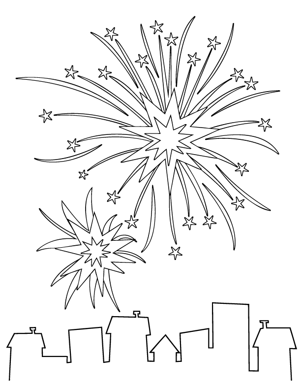 fourth of july fireworks coloring pages. Fireworks Coloring Page