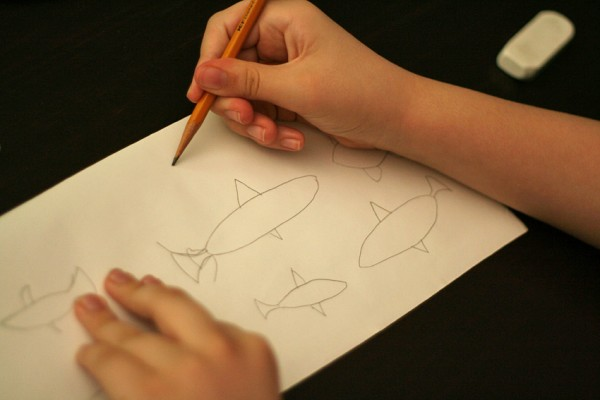 Making fish stencils on Contact paper