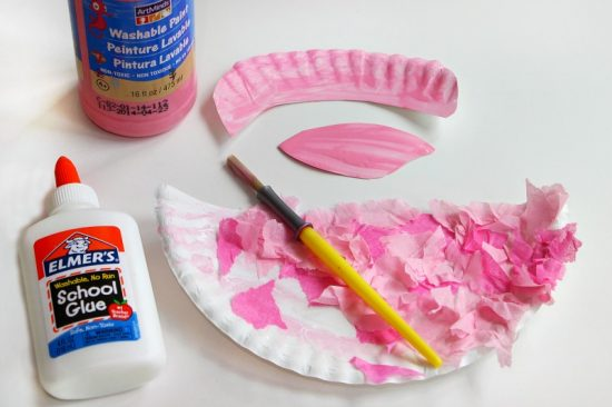 Easy Flamingo Craft for Kids! A simple paper plate and tissue paper craft for preschoolers!