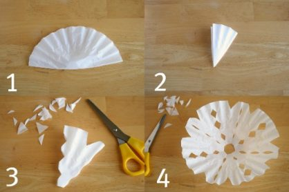 Steps to cutting a snowflake