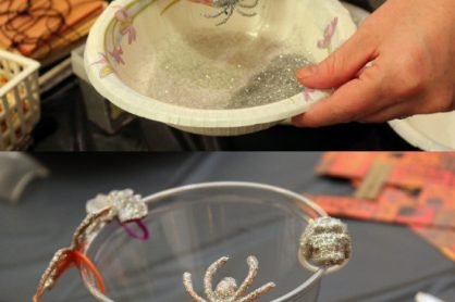 Glittered Plastic Spider Rings
