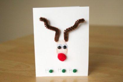 Thumbprint Stamped Reindeer Card