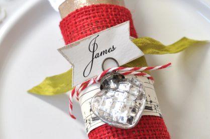 burlap sheet music toilet paper roll napkin ring idea