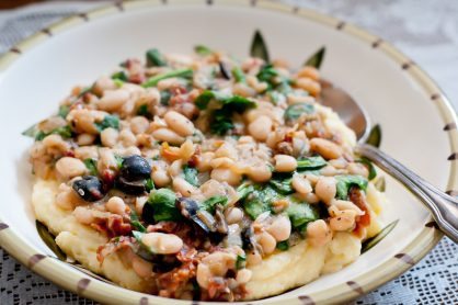 Creamed Polenta with White Beans and Spinach