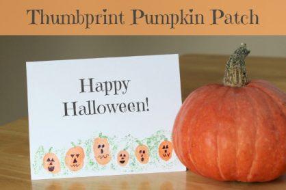 Thumbprint Pumpkin Patch Card via makeandtakes.com