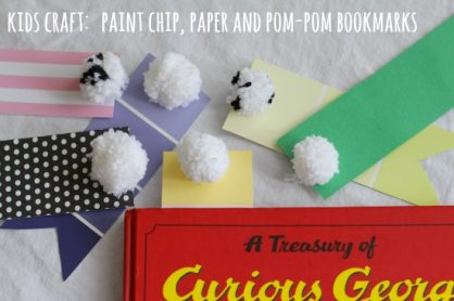 kids craft paint chip paper and pom pom bookmarks