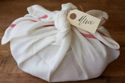 Dish towel wrapping for gifts