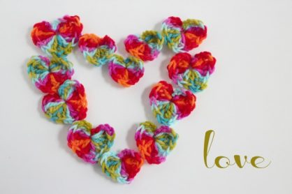 Crochet Hearts Sending Love
