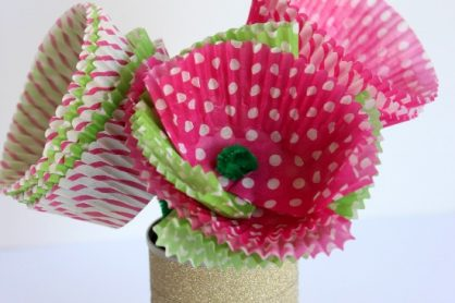 Cupcake Liner Flowers for Mom makeandtakes.com