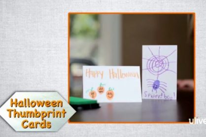 Halloween Thumbprint Cards Kids Craft makeandtakes.com