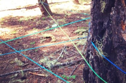 Making a Giant Kid-Sized Yarn Spider while Camping
