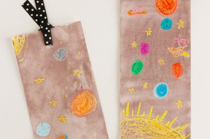 Space Watercoloring Bookmark Craft