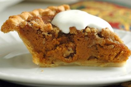 Caramel Pumpkin Pie with Pecan Streusel