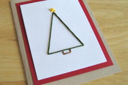 Hand-Stitched Christmas Tree Embroidery Card