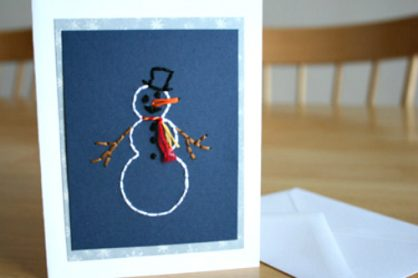 Hand-Stitched Snowman Card