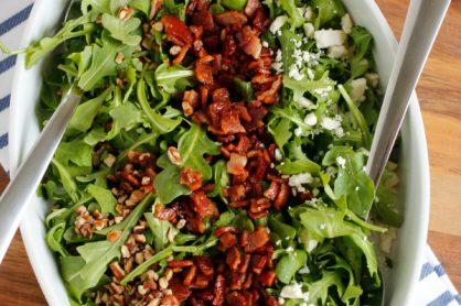 Arugula Salad with Bacon Vinaigrette Dressing