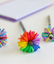 Pencil Topper Pom Poms with Rainbow Loom Bands