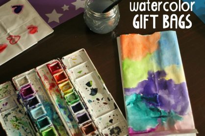 Creating gift bags with watercolors and white lunch bags