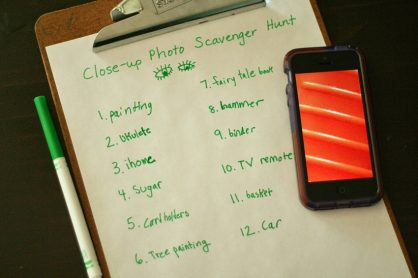 Close-up photo scavenger hunt recording sheet