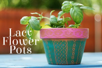 Lacy Airbrushed Flower Pots