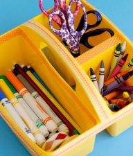 Crafting a Creative Caddy with craft supplies