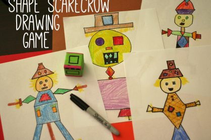 Shape scarecrows drawing game for kids