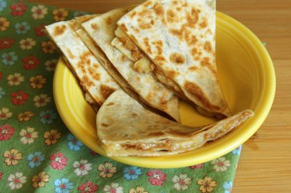 Peanut butter banana quesadilla for kids