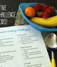 Creative Cooking Challenge for kids with free printable