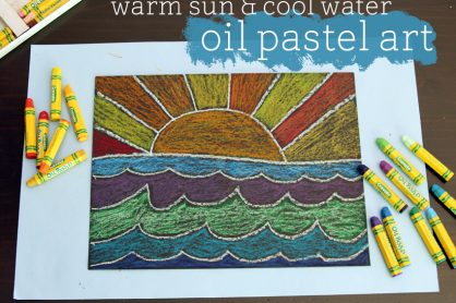 Warm sun and cool water oil pastel art