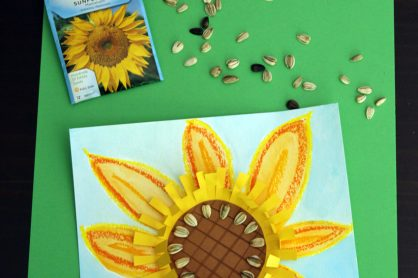 Mixed media sunflower art project for kids