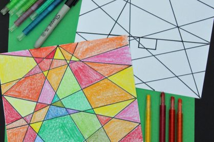 Abstract Christmas tree coloring project for kids