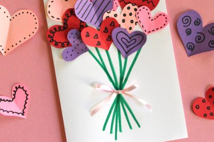 Adorable heart bouquet card for Valentine's Day