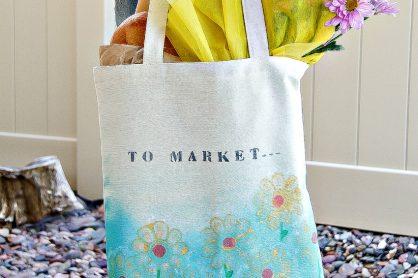 How to paint a canvas shopping bag for Mothers Day