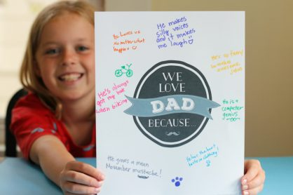 We Love Dad Because Printable for Father's Day