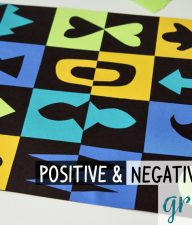 Positive and negative space grid art with paper