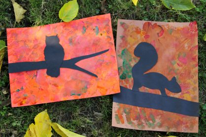 Fall tree silhouette art project