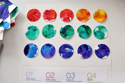 Yearly calendar made with child's artwork