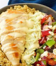 Greek Chicken Avocado and Quinoa Salad Bowl for Dinner