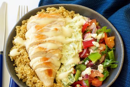 Greek Chicken Avocado and Quinoa Salad Bowl for Dinner