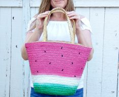 watermelon straw tote