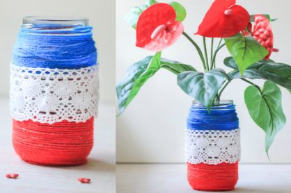 Getting Patriotic with Yarn Wrapped Jars Craft