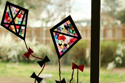 Colorful Stained Glass Tissue Window Kites